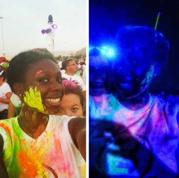 Black light Run before and during! So much fun with the best of friends! #blacklightrun #blacklightrun2014 #blacklightrunhouston #houston #texas #fitspiration #fitness #fitgirl #fitfam #fit #fitspo #5k